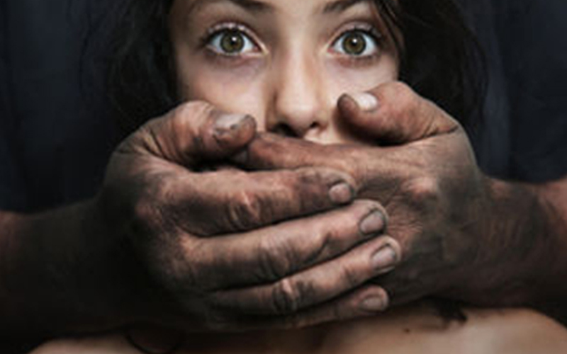 Scared woman with dirty male hands covering her mouth